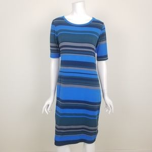 Lularoe Blue Striped Julie Dress Size Medium NWT